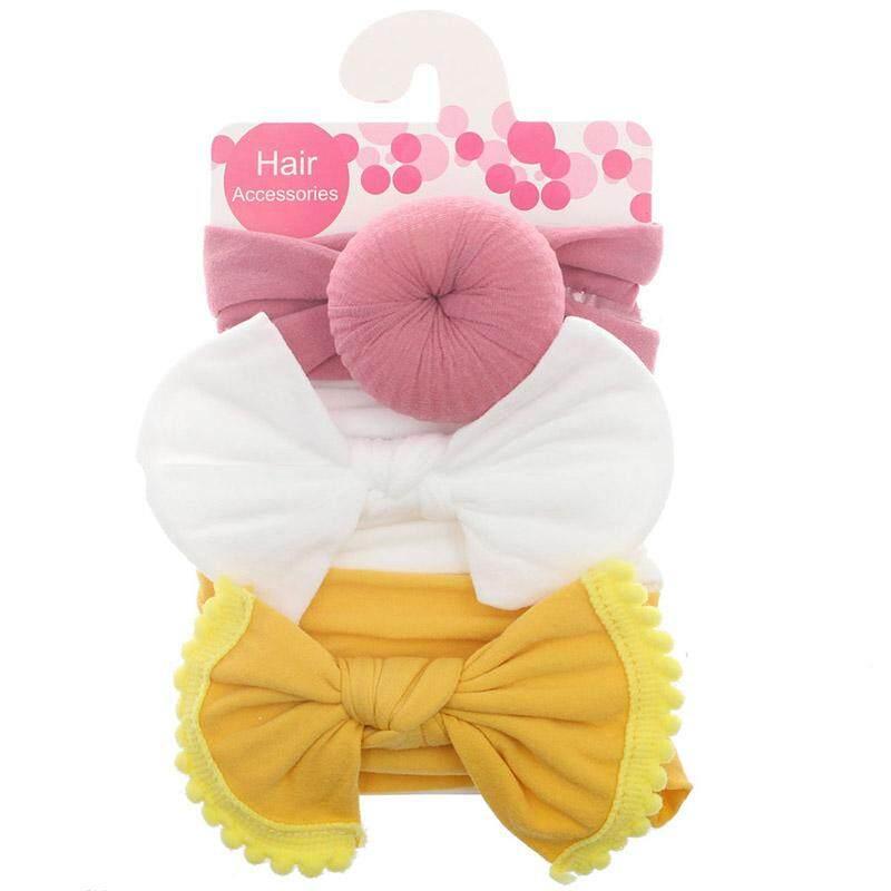 42fb24ee2 3 Pcs/set Summer New Soft Nylon Newborn Baby Headband Cute Bows Donnut  Knotted Elastic