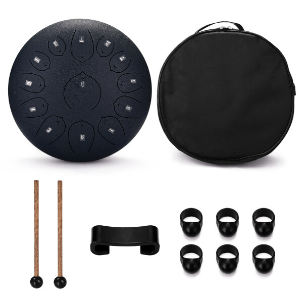 12 inch 13-Tone Steel Tongue Drum Mini Hand Pan Drums with Drumsticks Percussion Musical Instruments