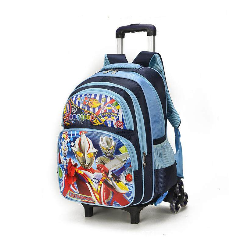 Giá bán New six-wheel pull rod schoolbag for primary school students grade 1-3-5 6-12 backpack kindergarten bag