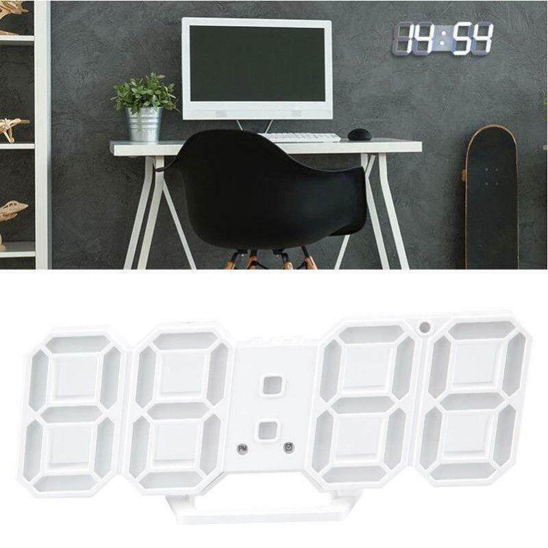 Kỹ Thuật Số 3D Trắng Hiện Đại Đồng Hồ Led Treo Tường Đồng Hồ Báo Thức Báo Lại Hiển Thị 12/24 Giờ USB bán chạy