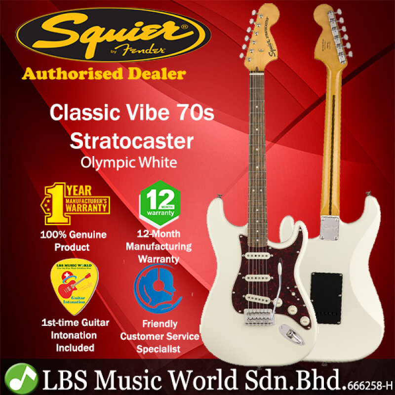 Squier by Fender Classic Vibe 70s Stratocaster Electric Guitar with Laurel Fingerboard (Olympic White) Malaysia