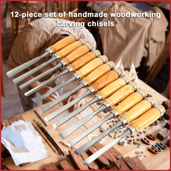 (Ready Stock)12PCS Wood Carving Hand Chisel Set Chisel Masonry Carving Tool Flat Chisel Carpentry Set Carpenter Woodworking Tool Set with Storage Bag