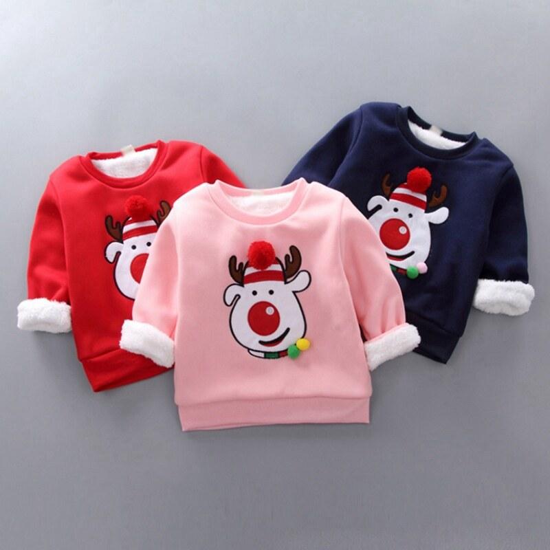 Kttrade 0-4ปีเด็กฤดูใบไม้ร่วงเด็กเด็กคริสต์มาสการ์ตูนthicken Velvetเสื้อลำลองแขนยาวเสื้อกันหนาว.