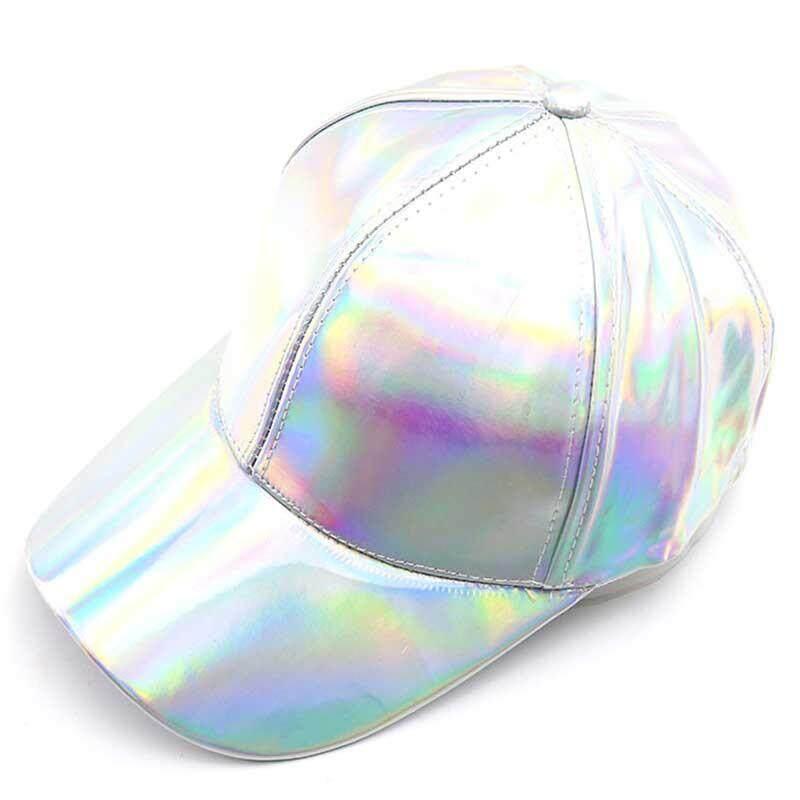 dbe3cc34909b9 Fashion Women Men Color gradient Shiny Metallic Laser Leather Snapback  Baseball Caps