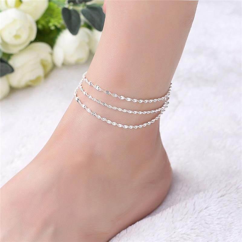 925 Sterling Silver Braid Chain Anklet For Women Girls Foot Jewelry Leg Bracelet Barefoot Tobillera Chaine De Chevil 5b179.