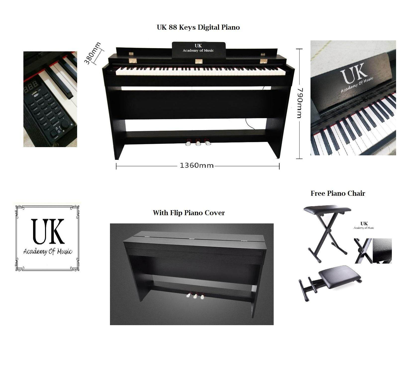 UK Exam Grade / Master Grade Digital Piano Hammer Action Fully Weighted 88  Keys+Piano Stool+Manual User+Malaysia Adapter (Black)