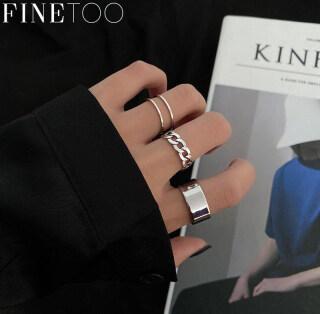 FINE TOO Cái bộ Chiếc Nhẫn Bạc Đơn Giản Hàn Quốc Nhẫn Đeo Tay Kim Loại Rỗng Phụ Kiện Trang Sức Thời Trang Cho Nữ thumbnail