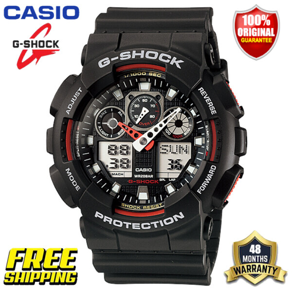 New 100% Original G Shock  GA100 Men Sport Watch Dual Time Display 200M Water Resistant Shockproof and Waterproof World Time LED Auto Light Gshock Man Boy Sports Wrist Watches with 4 Years Official Warranty GA-100-1A4 Black (Ready Stock and Free Shipping) Malaysia