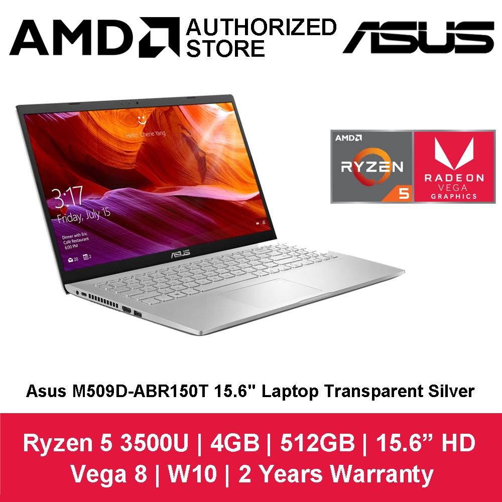 Asus M509D-ABR150T 15.6  Laptop Transparent Silver ( Ryzen R5-3500U, 4GB, 512GB, ATI, W10 ) Malaysia