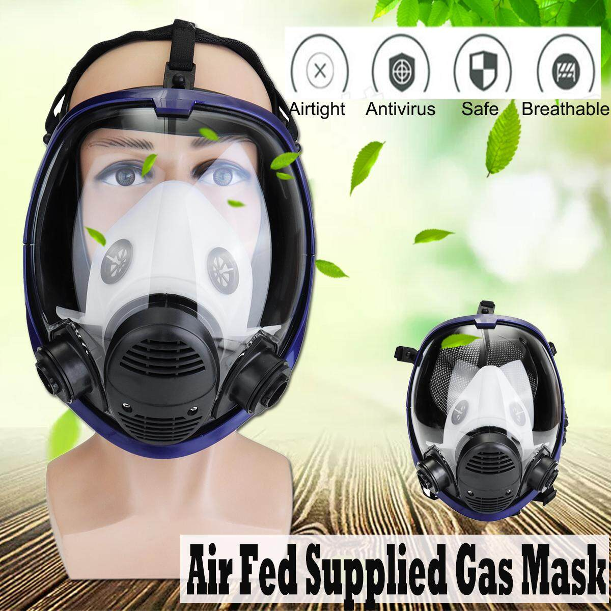 【Free Shipping + Flash Deal】Air Fed Supplied Gas Mask System Full Face Airline Respirator For Spraying Weld Anti-Fog PM2.5