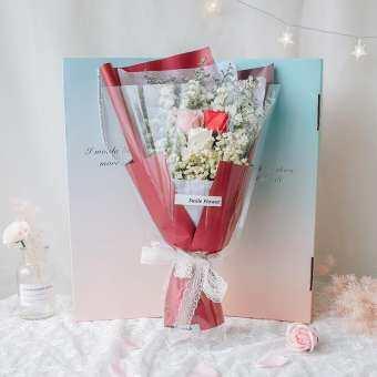 Ruijin ช่อดอกไม้แห้งของขวัญ Gypsophila กล่องของขวัญวันเกิดส่งแฟนสบู่ดอกกุหลาบดอกไม้