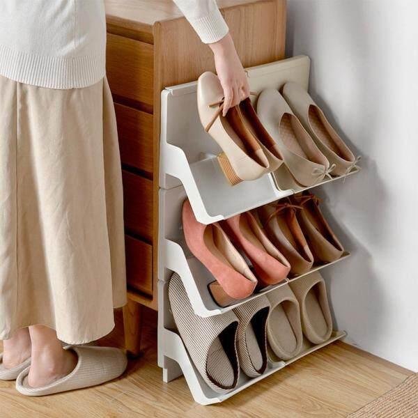 (2/6pcs)Nordic multi-layer assembly plastic shoe rack simple household dustproof Simple combination shoe storage rack