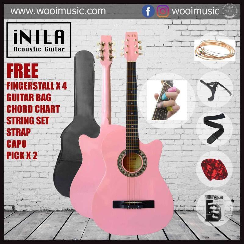 iNILA i38C Acoustic Guitar 38 Pack B - Pink (FREE bag, strap, pick, capo, string, chord chart, finger stall) Malaysia