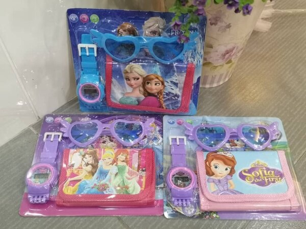 💥readystock💥 Jam Budak Set (Dompet + Jam + Cermin Mata) Wallet + Watch + Spec Frozen Kitty Minnie Sofia Princess LOL Malaysia