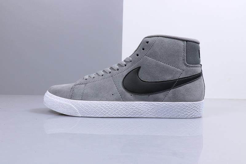 Nike_SB Zoom Blazer Rendah Mode Sepatu Skateboard Bulu Kulit Sepatu Olahraga Kasual Abu-abu