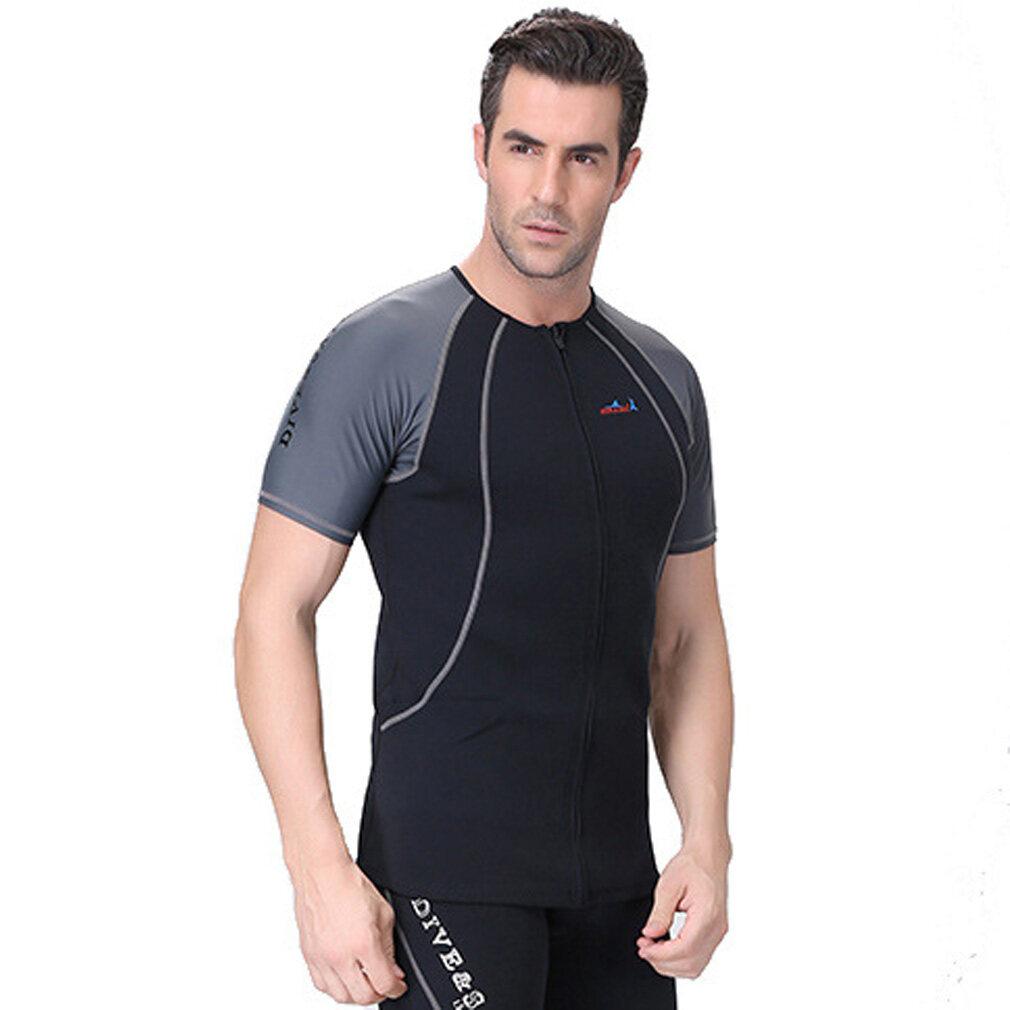 3dff368535 1.5mm Neoprene Men Wetsuit Top Short Sleeve Swimming Diving Snorkeling  Rashguard T Shirt Swimwear –