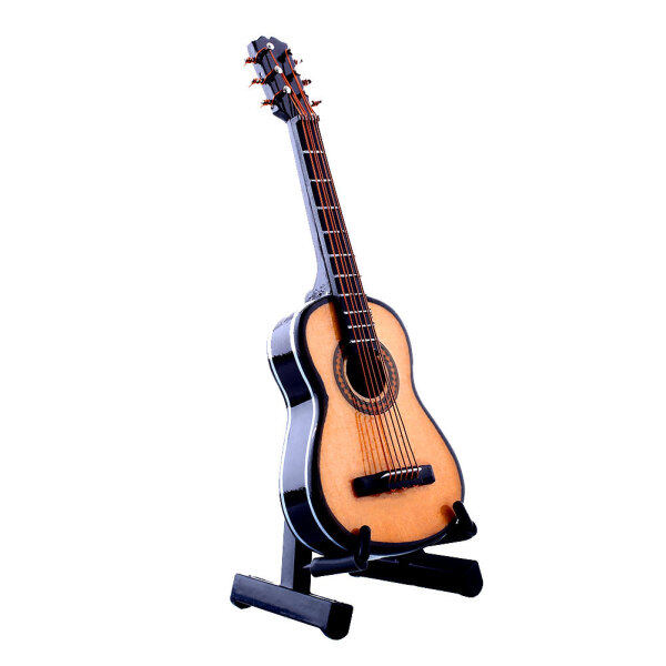 1:12 Mini Acoustic Guitar Wooden Miniature Musical Dollhouse Toy With Case New Malaysia