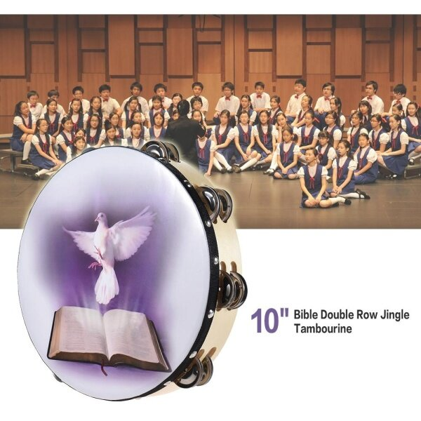 10 Double Row Jingle Tambourine Handbell Clap Drum Percussion Instrument with Dove & Bible Pattern for Church Malaysia