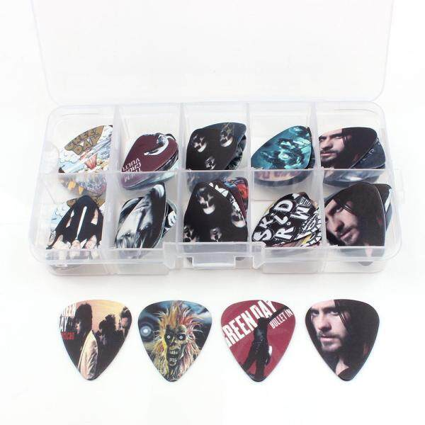 2017 Fashion hot 50pcs 10 lattice box case 0.71 0.46 1.0 mm popular rock band style DIY Earrinngs guitar picks two sides picks pick Mix picks guitar Musical Accessories for Ukulele Electric guitar Malaysia
