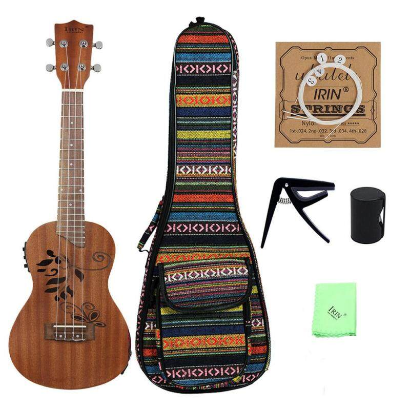 24 Sapele Wood Ukulele Kit with LCD EQ Including Carrying Bag Capo Strings Finger Maraca Cleaning Cloth Malaysia