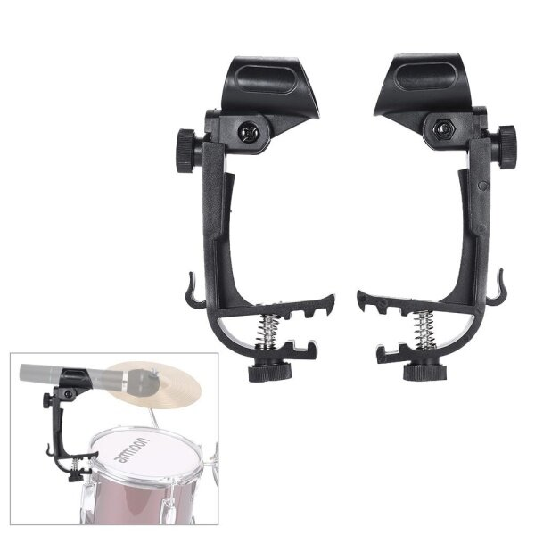2pcs Clamp Clip On Drum Rim Microphone Mic Mount Holder Adjustable Shockproof Malaysia