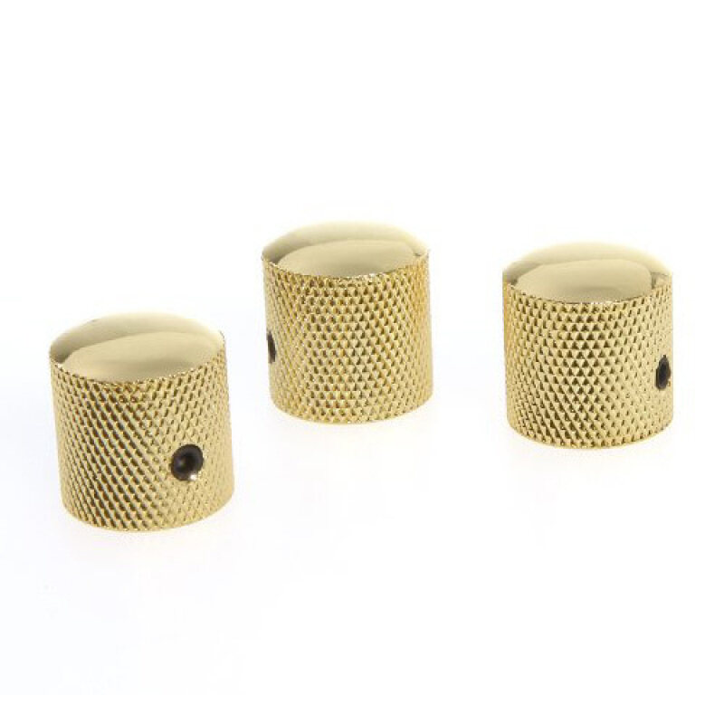 3PCS Gilded Metal Dome Knobs Knurled Barrel for Electric Guitar Parts Gold - Intl Malaysia