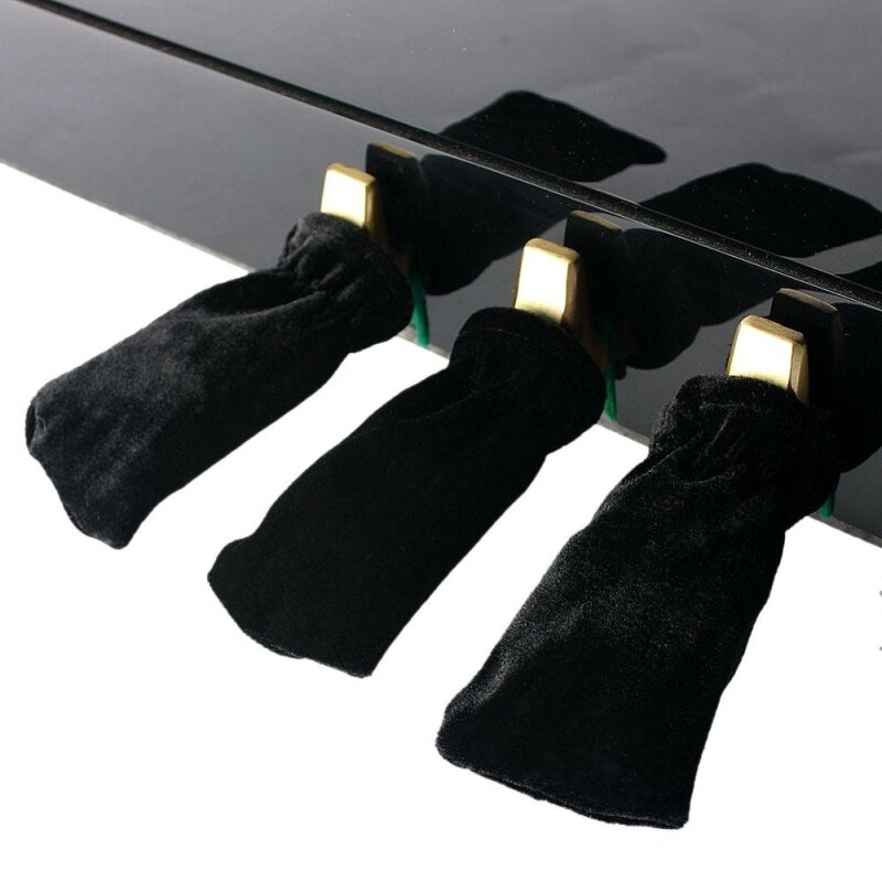 3pcs Piano Sustain Pedal Cover Pleuche Universal Beautiful  (Black) Malaysia
