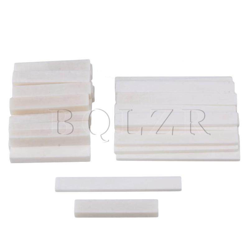 50 Sets Blank Bone Nut and Bridge Saddle for Acoustic and Classical Guitar White Malaysia