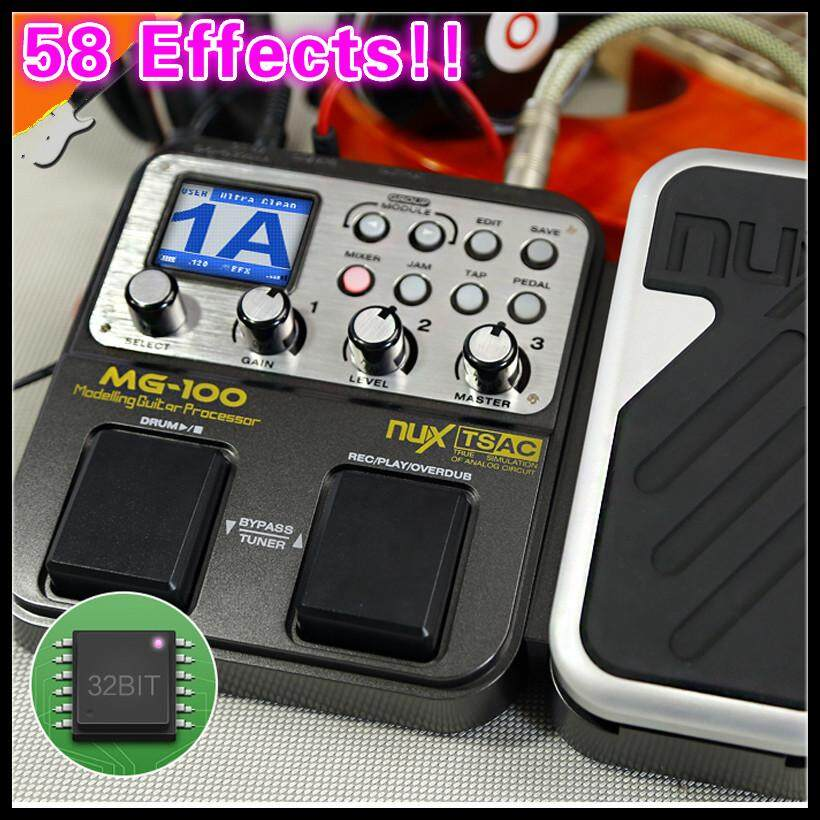 58 Effects 6-band Graphic EQ Built-in Drum Machine NUX MG-100 Electric Guitar/Violin/Ukulele Multi-Effects Pedal Processor C with 72 Presets Loop Function+Free 9V Power Adapter Converter Processor () - intl