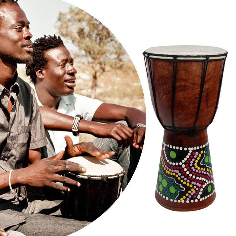 6 Inch African Djembe Percussion Mahogany Hand Drum with  Goat Skin Surface