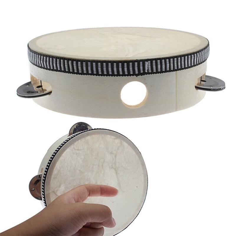 6 inch childrens percussion Musical Tambourine Beat Instrument Hand Drum (White)