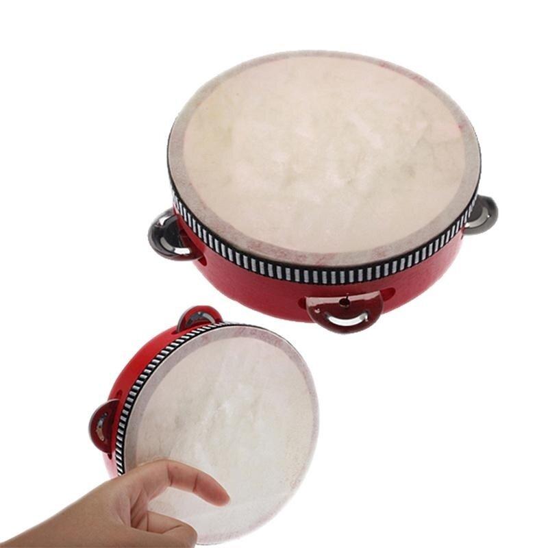 8 inch childrens percussion Musical Tambourine Beat Instrument Hand Drum (Red)
