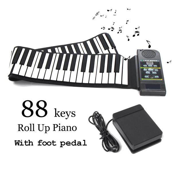 88 Keys Roll Up Digital Electronic Soft Keyboard Piano LCD Display+Sustain Pedal - Malaysia