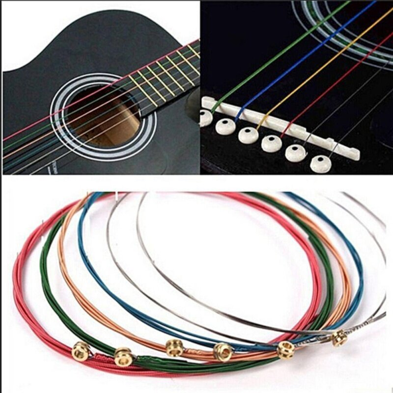Acoustic Guitar Strings Guitar Strings One Set 6pcs Rainbow Colorful Color Chic Sale Multicolor Malaysia