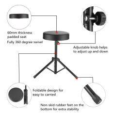 Adjustable Drum Throne Empuk Bangku Duduk Berdiri Pemain Drum Gitar Keyboard Kursi