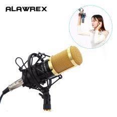ALAWREX AX-800 Condenser Sound Recording Microphone Mic w/ Shock Mount & Cable for Radio Braodcasting Singing KTV Karaoke Black