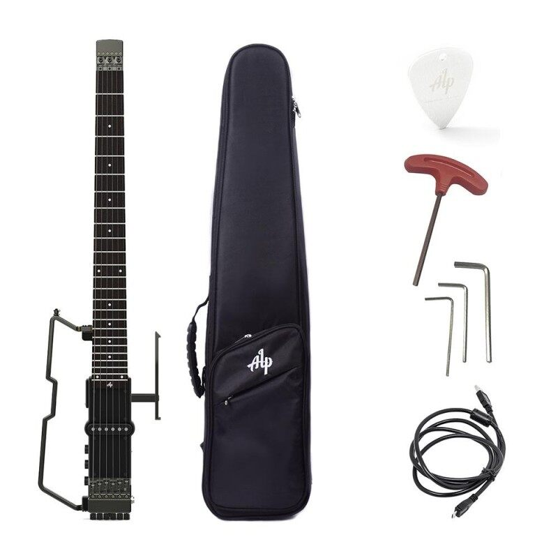 ALP FT-221S Portable Foldable Headless Travel Electric Guitar Built-in Tuner Headphone Amplifier Rechargeable Lithium with Gig Bag Malaysia