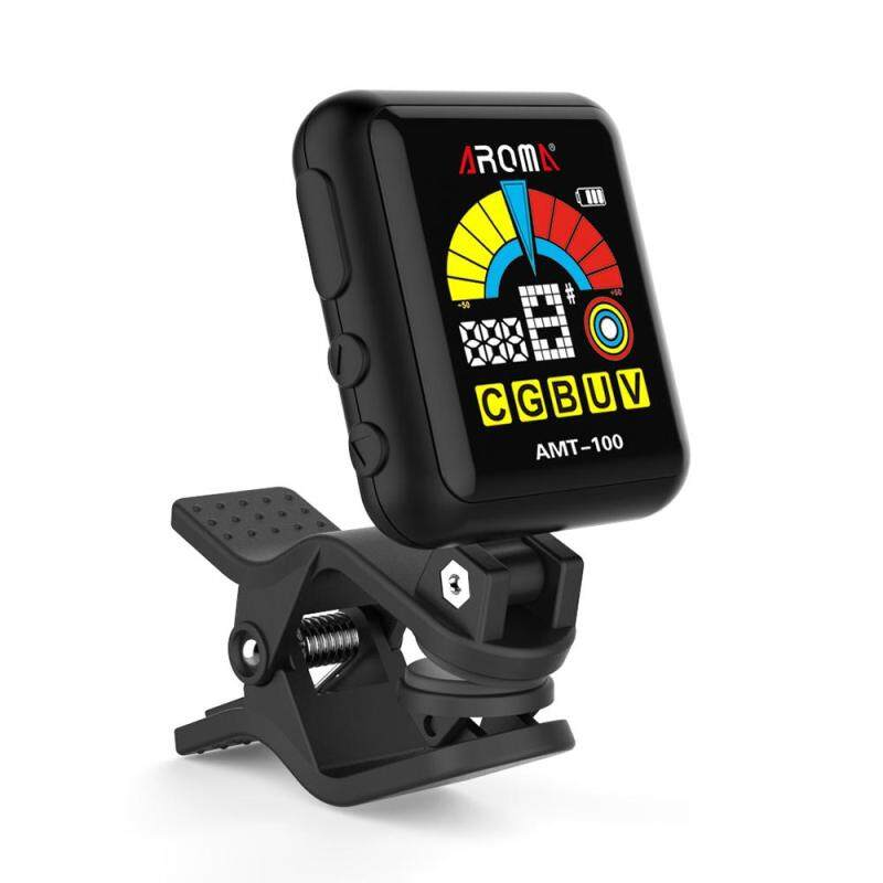 AROMA AMT-100 2 in 1 Rechargeable Rotatable Clip-on Electronic Tuner Metronome Color Screen with Built-in Battery USB Cable for Chromatic Guitar Bass Ukulele Violin Malaysia