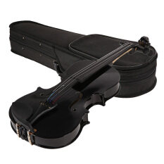 Basswood 1/8 Full Size Acoustic Violin Fiddle Black with Case Bow Rosin
