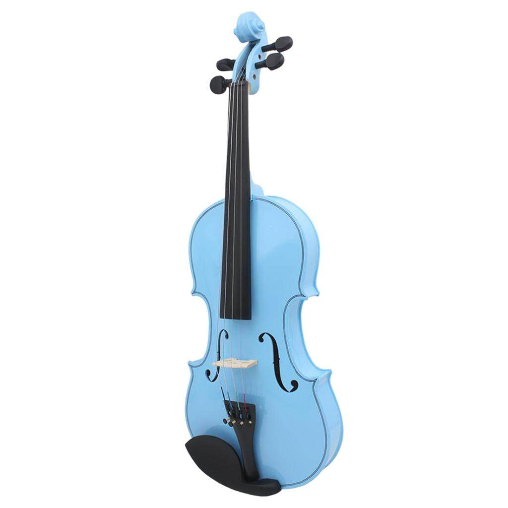 BolehDeals 23 ''Biola Ukuran Penuh 4/4 Set Biru W/Kasus Busur Rosin Resin untuk Tali Concert Performa internasional