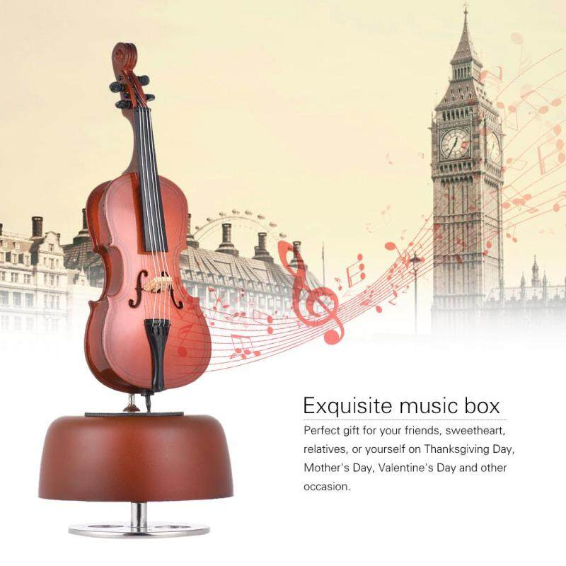 Classical Wind Up Cello Music Box with Rotating Musical Base Instrument Miniature Artware Gift Malaysia