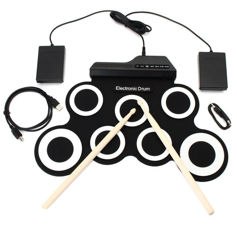 Compact Digital Portable Roll Up Electronic Drum Kits Pad with Pedal Drum Sticks - intl