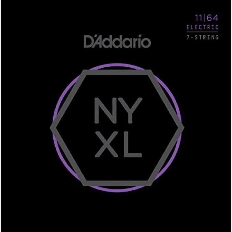 DAddario NYXL1164 Nickel Wound 7-String Electric Guitar Strings, Medium, 11-64 Malaysia