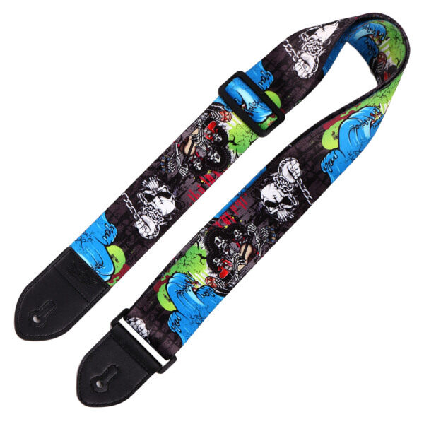 Fashion Cool Printed Adjustable Ukulele Guitar Electric Guitar Neck Shoulder Strap Loop with Button Holes Colorful Graffiti Style Malaysia