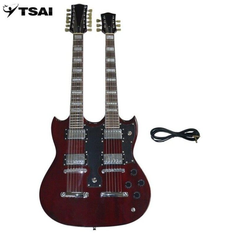 GOOD TSAI SY-NE-005 12 Strings Double Necks Electric Guitar with Double Coil Pickup red Malaysia