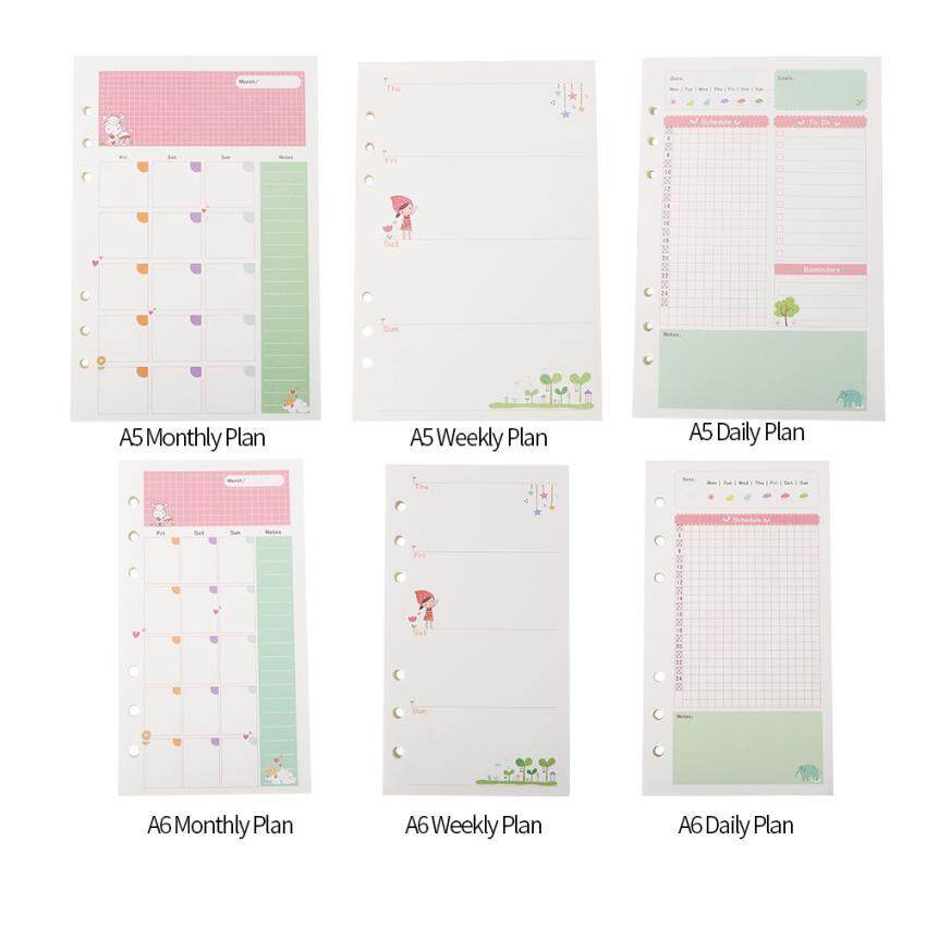 High Quality 45pcs Loose-Leaf Refill Filler Paper Planner 6 Rings Binder Paper Pages (a5 Monthly Plan) By Adrian Store.