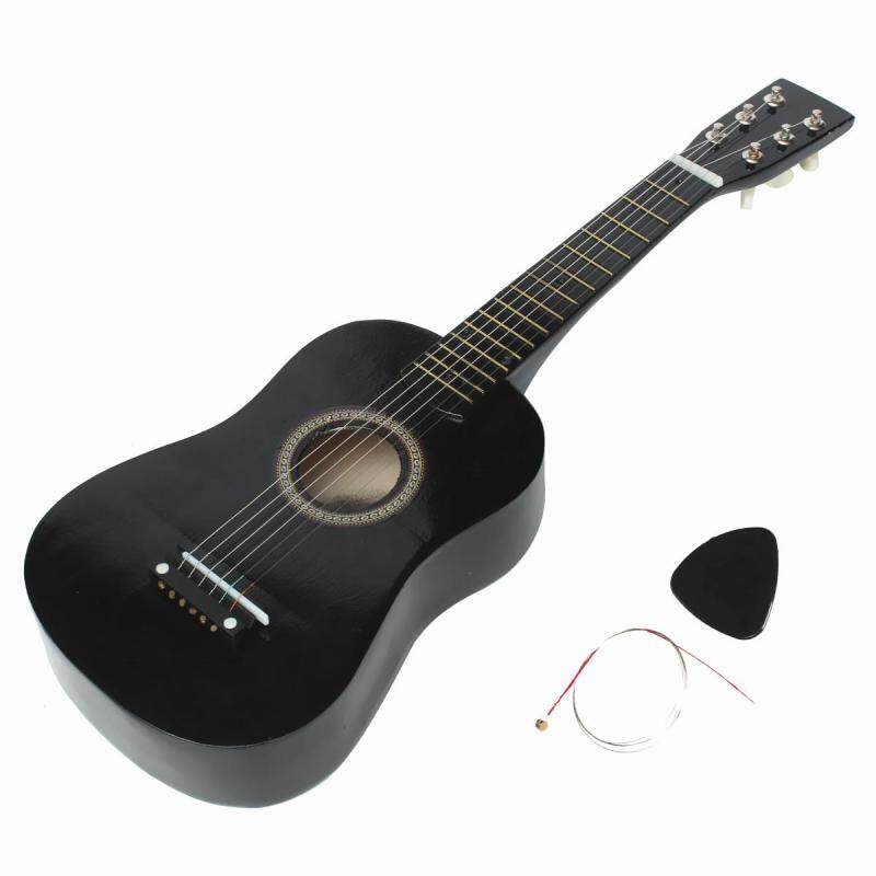 【Flash Deal】HOT New Beginners Black Basswood Acoustic Guitar With Guitar Pick Wire Strings Malaysia