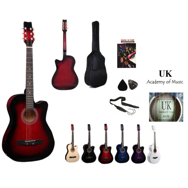 UK Acoustic Guitar 38 Inch (Red)+Bag+2 Picks+Strap+Book Malaysia