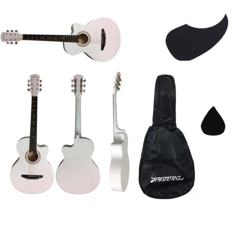 Hyburg Acoustic Guitar 38 Inch (White) + Bag + Pick + Pickguard Malaysia