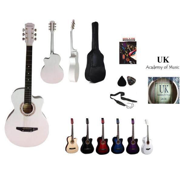UK Acoustic Guitar 38 Inch (White)+Bag+2 Picks+Strap+Book Malaysia